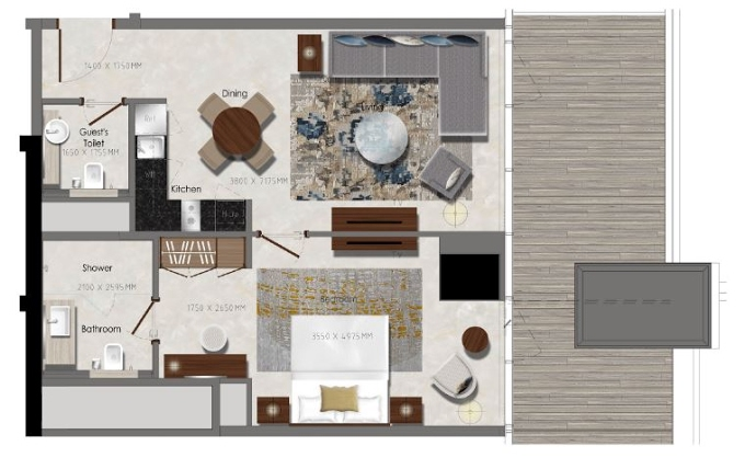 Planning of the apartment 1BR, 441.32 in J One Tower, Dubai