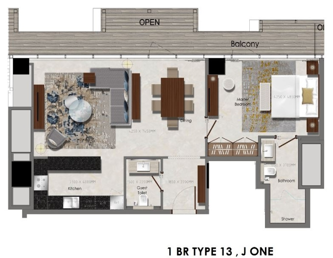 Planning of the apartment 1BR, 635 in J One Tower, Dubai