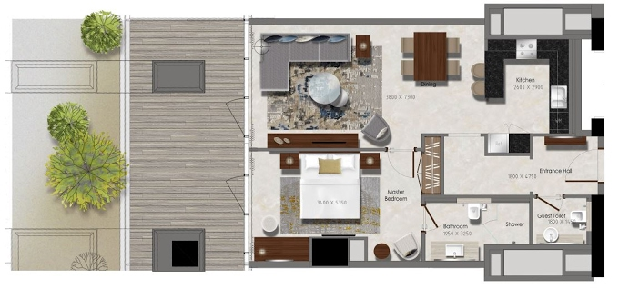 Planning of the apartment 1BR, 516.66 in J One Tower, Dubai