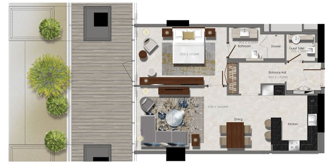 Planning of the apartment 1BR, 570.48 in J One Tower, Dubai