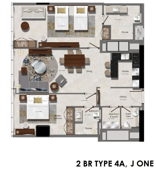 Planning of the apartment 2BR, 816.11 in J One Tower, Dubai