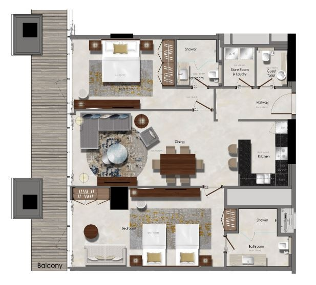 Planning of the apartment 2BR, 882.64 in J One Tower, Dubai