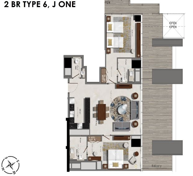 Planning of the apartment 2BR, 861.11 in J One Tower, Dubai