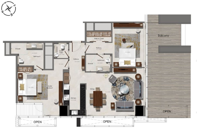 Planning of the apartment 2BR, 968.75 in J One Tower, Dubai