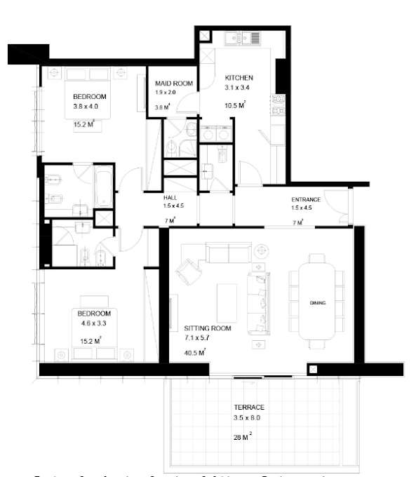 Planning of the apartment 2BR, 1718 in Park View Tower, Dubai