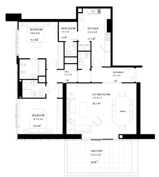 Planning of the apartment 2BR, 1722 in Park View Tower, Dubai
