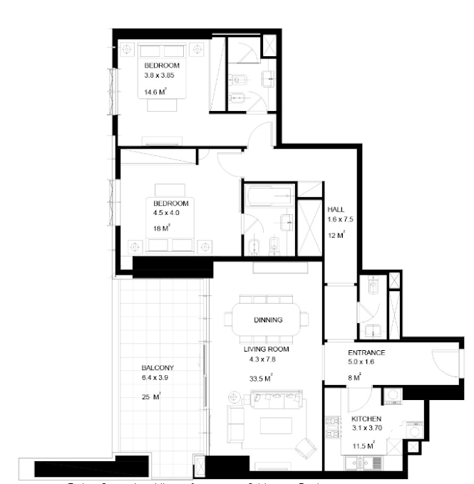 Planning of the apartment 2BR, 1561 in Park View Tower, Dubai