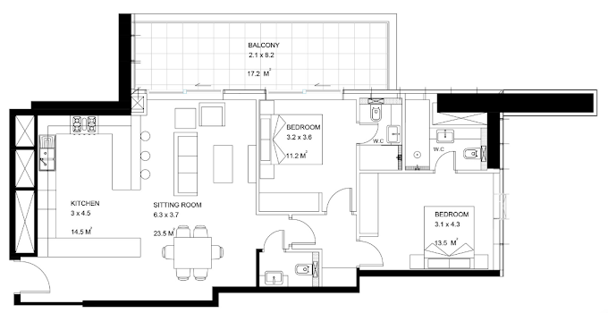 Planning of the apartment 2BR, 1193 in Park View Tower, Dubai