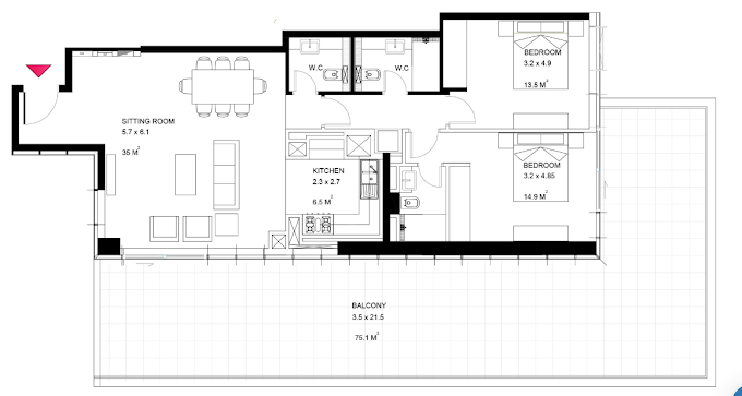 Planning of the apartment 2BR, 1873 in Park View Tower, Dubai