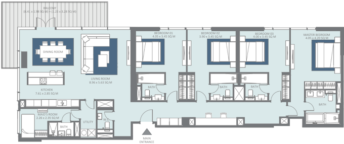 Planning of the apartment 4BR, 2459 in Bluewaters Residences, Dubai