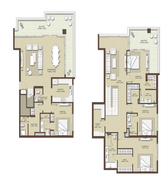 Planning of the apartment 4BR, 3383 in Mulberry at Dubai Hills Estate, Dubai