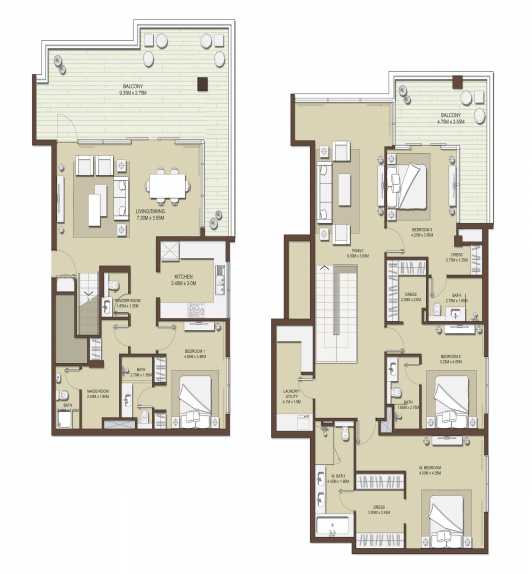Planning of the apartment 4BR, 3351 in Mulberry at Dubai Hills Estate, Dubai