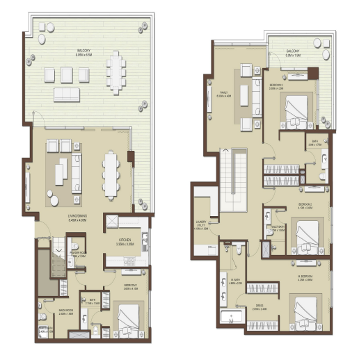 Planning of the apartment 4BR, 3909 in Mulberry at Dubai Hills Estate, Dubai