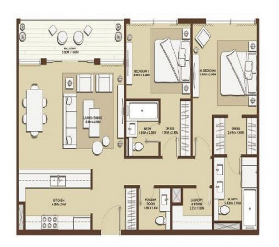 Planning of the apartment 2BR, 1297 in Mulberry at Dubai Hills Estate, Dubai