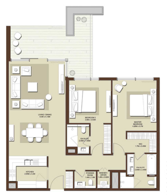 Planning of the apartment 2BR, 1601 in Acacia Apartments, Dubai