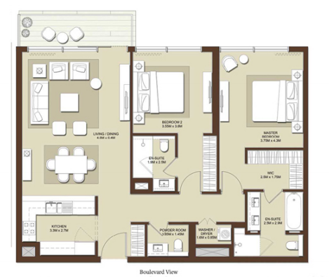 Planning of the apartment 2BR, 1341 in Acacia Apartments, Dubai