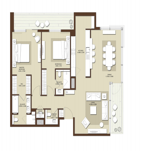 Planning of the apartment 2BR, 1717 in Acacia Apartments, Dubai