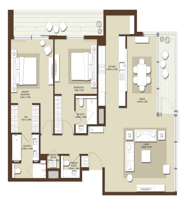 Planning of the apartment 2BR, 1706 in Acacia Apartments, Dubai