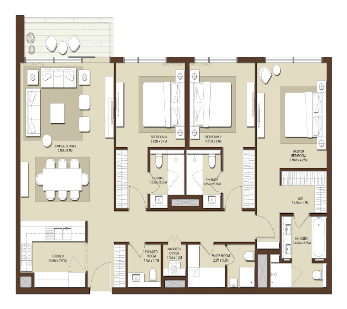 Planning of the apartment 3BR, 1762 in Acacia Apartments, Dubai