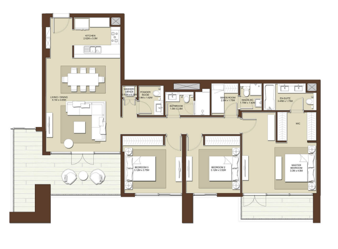 Planning of the apartment 3BR, 1706 in Acacia Apartments, Dubai