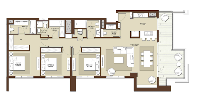 Planning of the apartment 3BR, 1807 in Acacia Apartments, Dubai