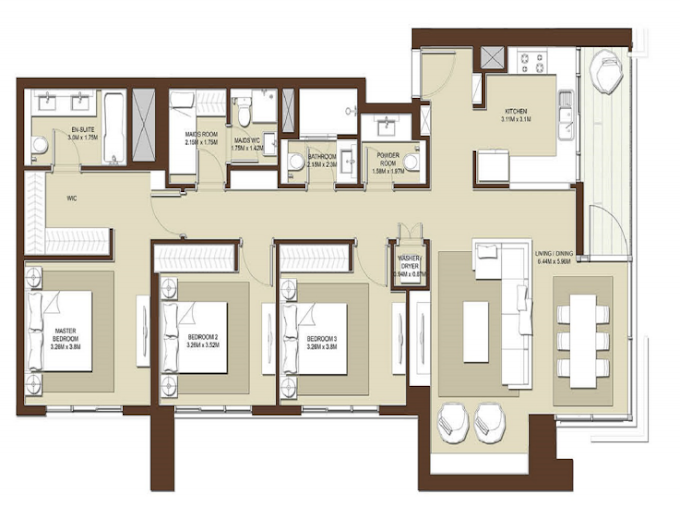 Planning of the apartment 3BR, 1625 in Acacia Apartments, Dubai