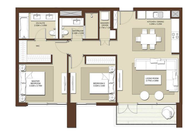 Planning of the apartment 2BR, 1188 in Acacia Apartments, Dubai