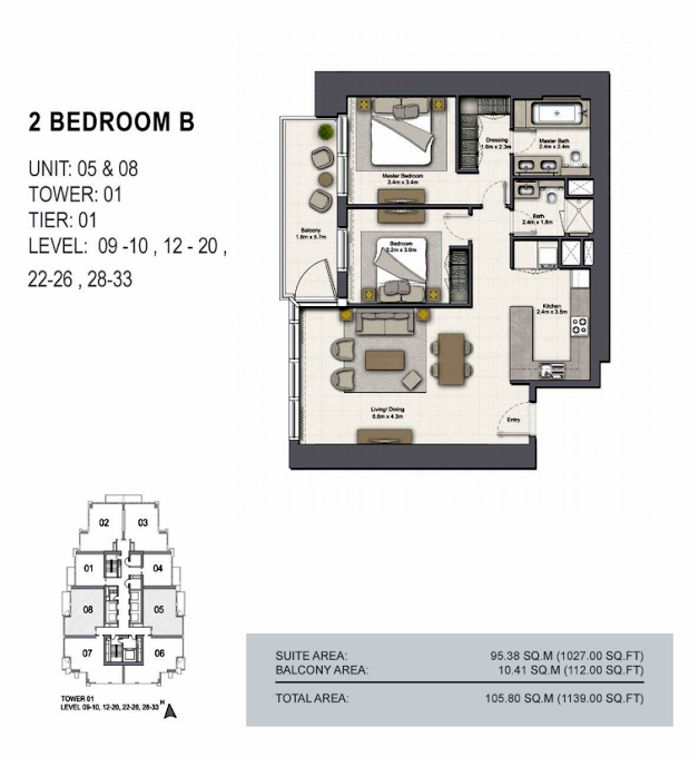 Planning of the apartment 2BR, 1139 in 52/42 Tower Dubai Marina, Dubai