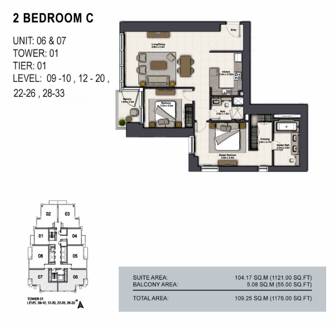 Planning of the apartment 2BR, 1176 in 52/42 Tower Dubai Marina, Dubai