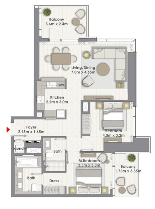 Planning of the apartment 2BR, 1246 in Creek Rise Towers, Dubai