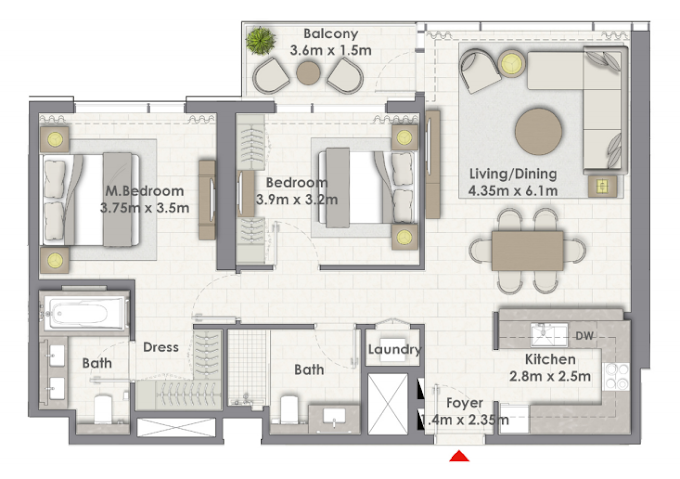 Planning of the apartment 2BR, 1103 in Creek Rise Towers, Dubai