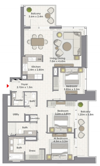 Planning of the apartment 3BR, 1643 in Creek Rise Towers, Dubai