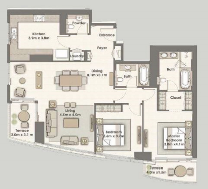 Planning of the apartment 2BR, 1636 in Dubai Creek Residences, Dubai
