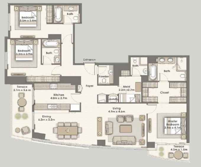 Planning of the apartment 3BR, 2154 in Dubai Creek Residences, Dubai