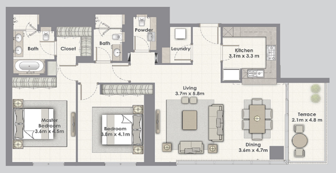 Planning of the apartment 2BR, 1567 in Dubai Creek Residences, Dubai