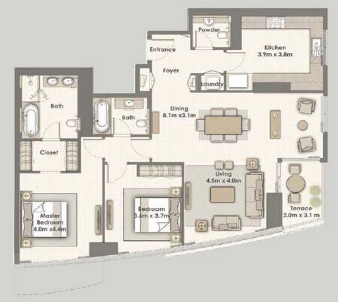 Planning of the apartment 2BR, 1639 in Dubai Creek Residences, Dubai