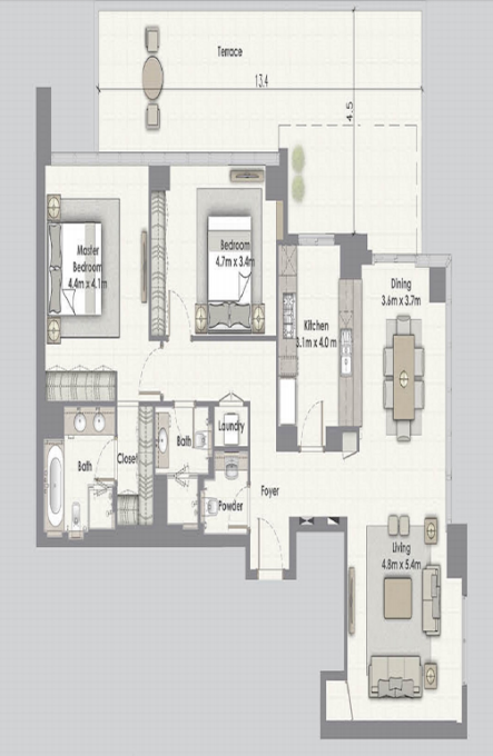 Planning of the apartment 2BR, 2070 in Dubai Creek Residences, Dubai