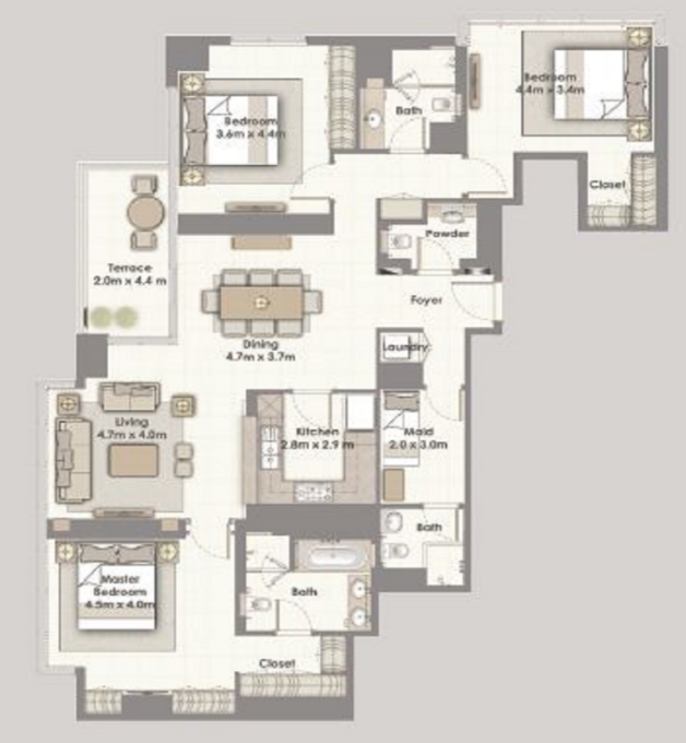 Planning of the apartment 3BR, 1896 in Dubai Creek Residences, Dubai