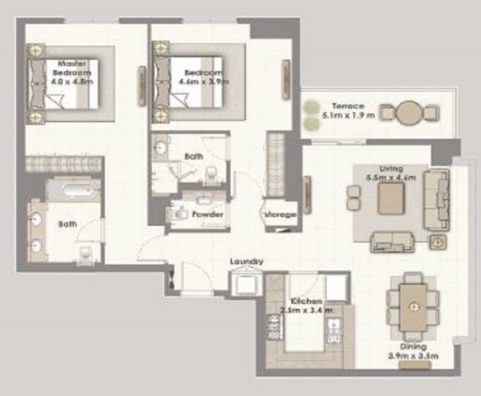 Planning of the apartment 2BR, 1585 in Dubai Creek Residences, Dubai