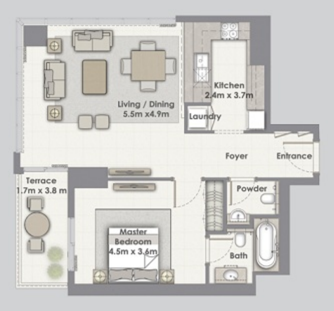 Planning of the apartment 1BR, 881 in Dubai Creek Residences, Dubai