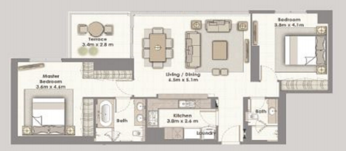 Planning of the apartment 2BR, 1364 in Dubai Creek Residences, Dubai