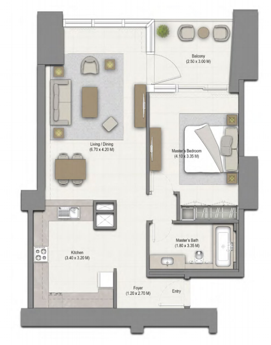 Planning of the apartment 1BR, 992 in 52/42 Tower Dubai Marina, Dubai