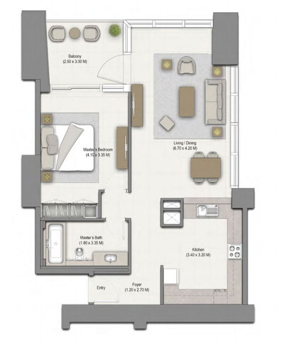 Planning of the apartment 1BR, 1003 in 52/42 Tower Dubai Marina, Dubai