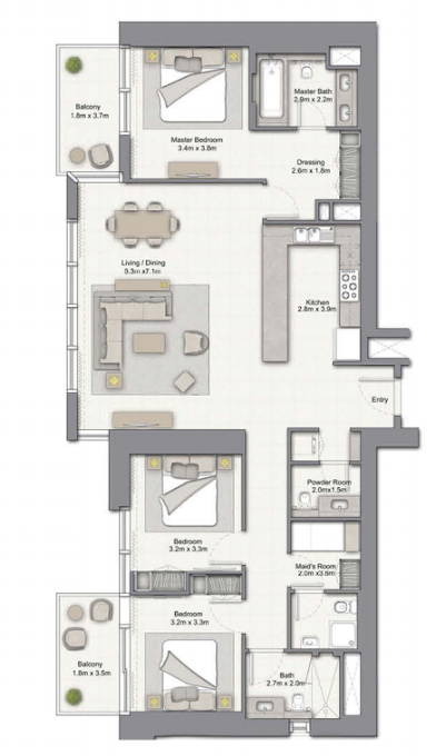 Planning of the apartment 3BR, 1747 in 52/42 Tower Dubai Marina, Dubai