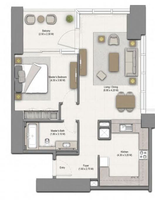 Planning of the apartment 1BR, 982 in 52/42 Tower Dubai Marina, Dubai