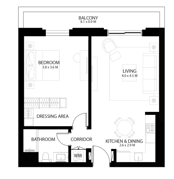 Planning of the apartment 1BR, 779.41 in Reflection, Abu Dhabi