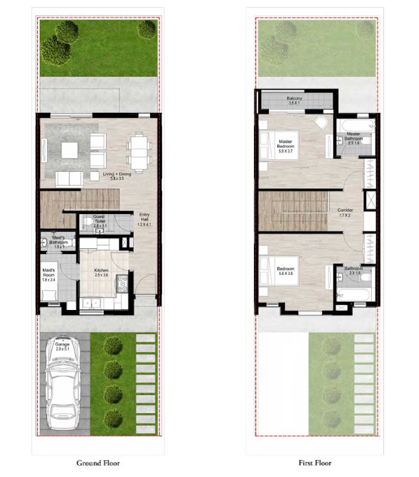 Planning of the apartment Townhouses 2BR, 1504 in Nasma Residences, Sharjah