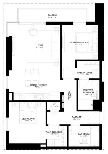 Planning of the apartment 2BR, 1059.81 in Burj Crown, Dubai