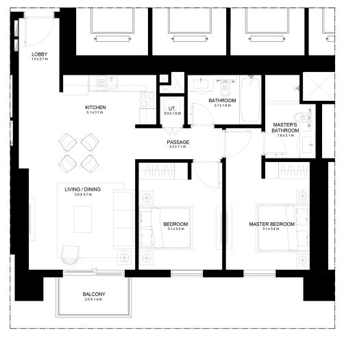 Planning of the apartment 2BR, 994.48 in Burj Crown, Dubai