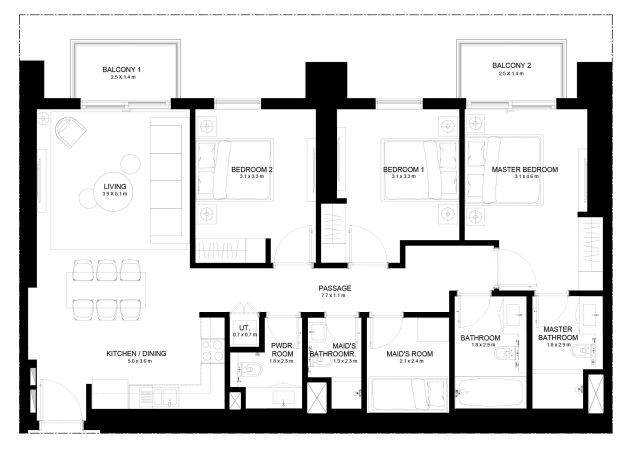 Planning of the apartment 3BR, 1351.84 in Burj Crown, Dubai